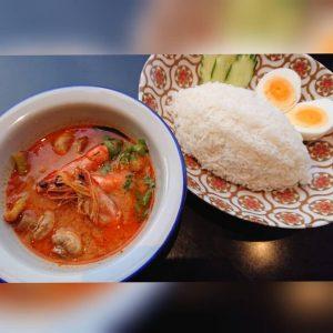 名古屋駅(名駅)にある本格タイ料理店「マイペンライ」のおすすめ。名駅店限定商品ちょっと食欲がいまいちな時など、疲れた身体に染みる「トムヤムクンとジャスミン米のセットランチ」の画像