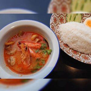 名古屋でのランチ、ディナーなどご飯利用におすすめタイ料理専門店「THAI FOOD・DINING マイペンライ 名駅店」で提供中の「トムヤムクンとジャスミン米」のセットランチ画像